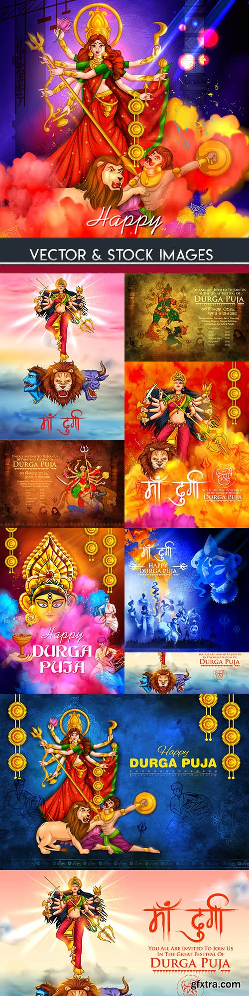 Happy Durga Puja traditional holiday collection illustrations