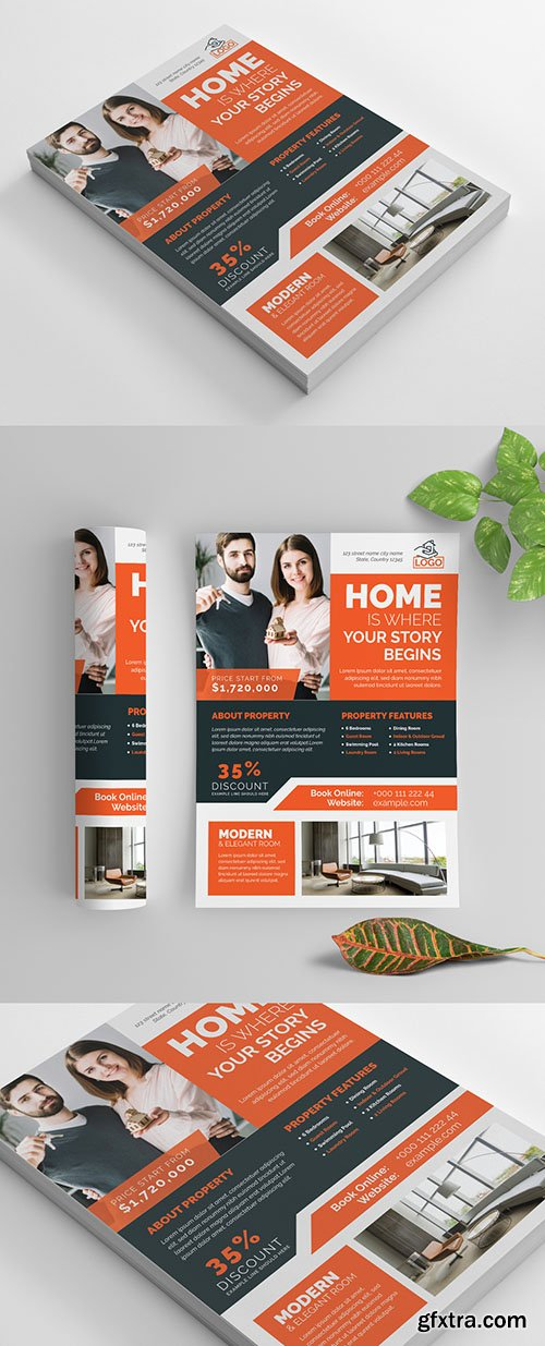 Business Flyer Layout with Orange Elements 269035308