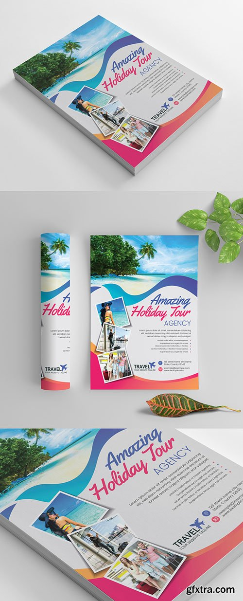 Flyer Layout with Colorful Ribbon Accents and Photo Header 269035290