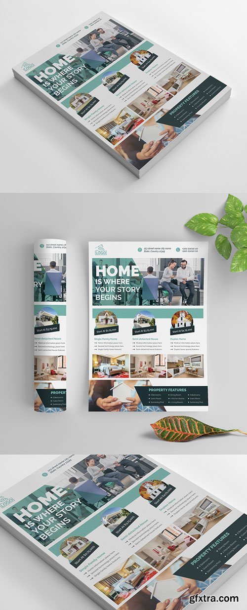 Real Estate Flyer Layout with Teal Accents 269035320