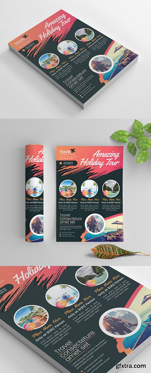 Bold and Colorful Flyer Layout with Paint Splatter Accents 269035322