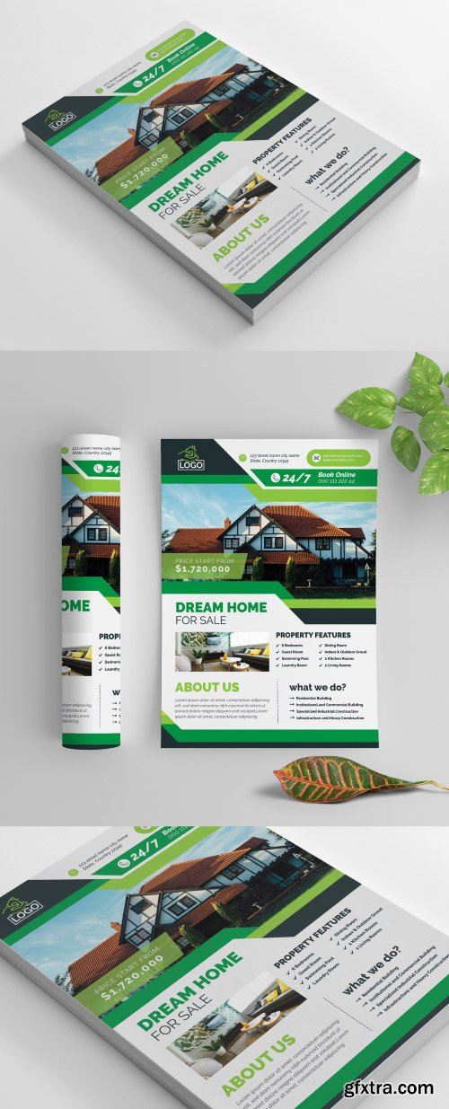 Business Flyer Layout with Green Elements 269035330