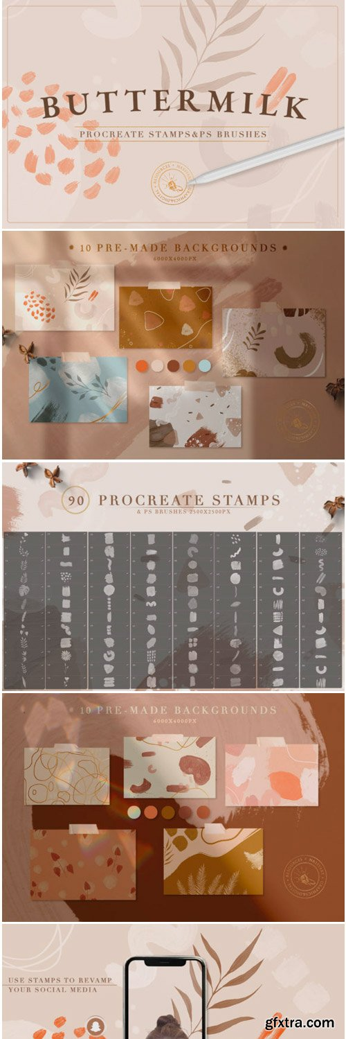 90 Procreate & PS Stamp Brushes 1779066