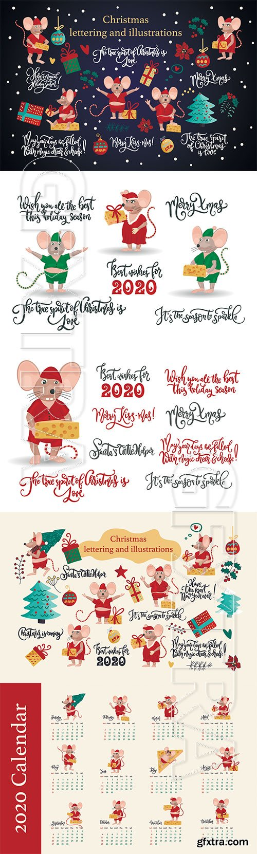 hristmas greeting illustrations with cute mice, decorations and lettering quotes