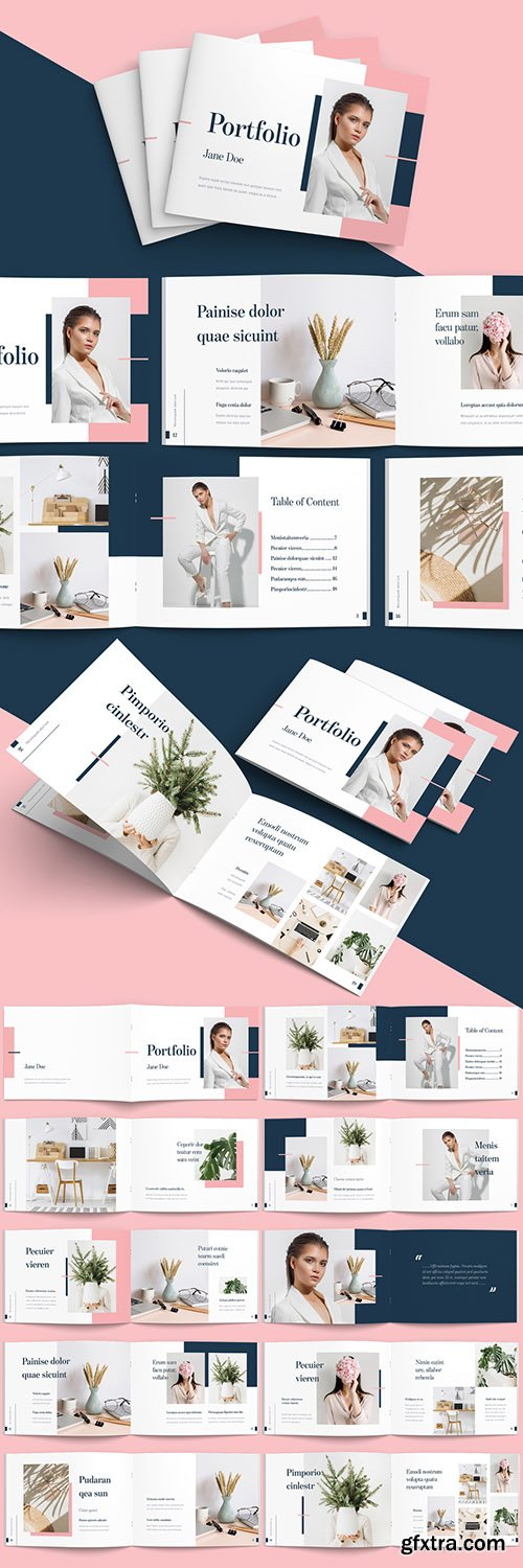 Landscape Portfolio Layout with Pink and Blue Accents 286747826