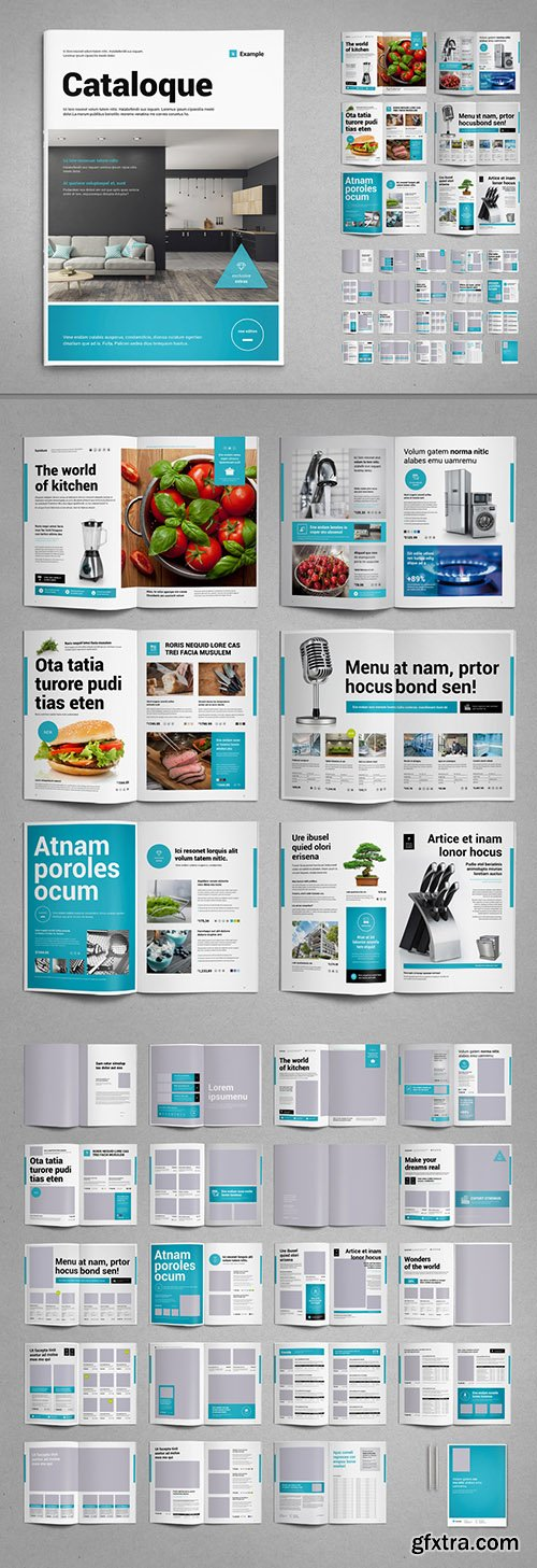 Product Catalog Layout in Black and White with Cyan Accents 287646159