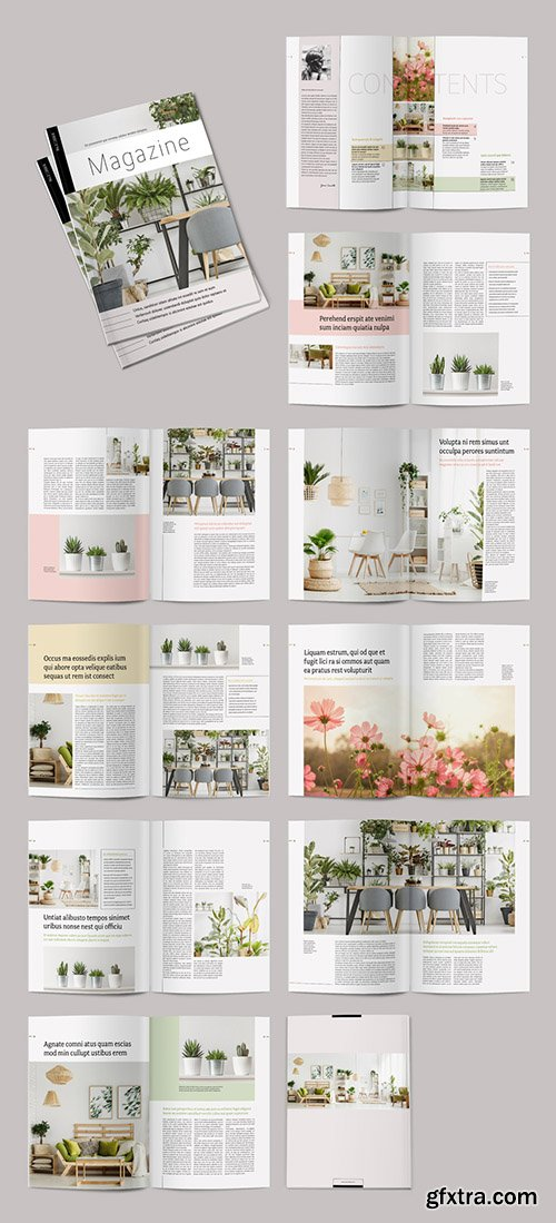 Magazine Layout with Pale Color Accents 286769851