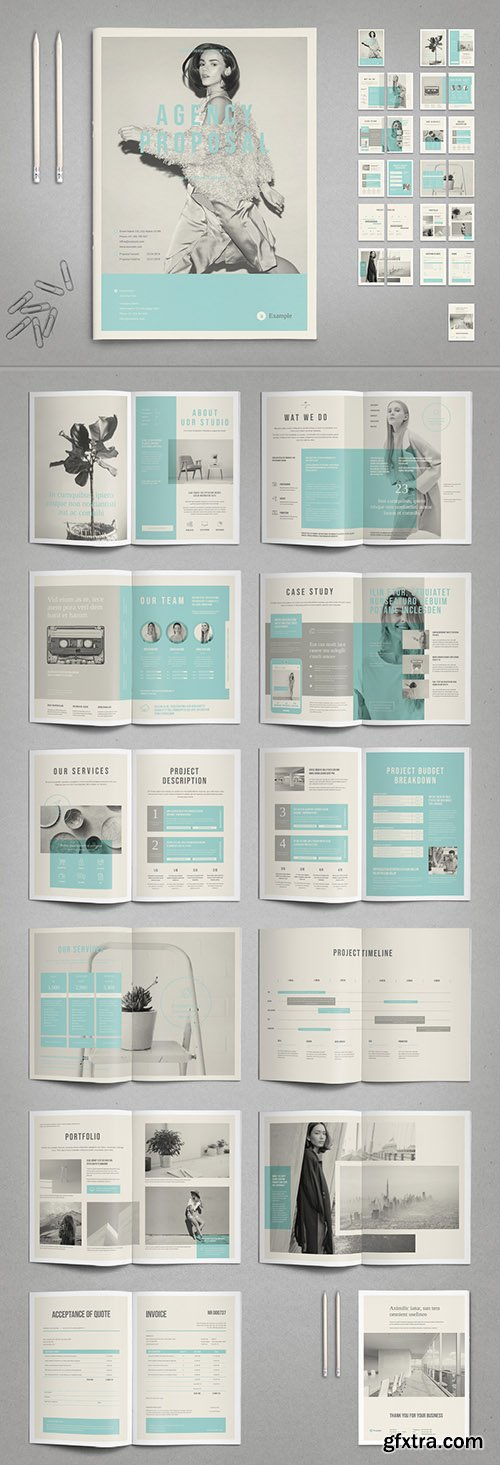 Agency Proposal Layout in Black and White with Cyan Accents 287646209