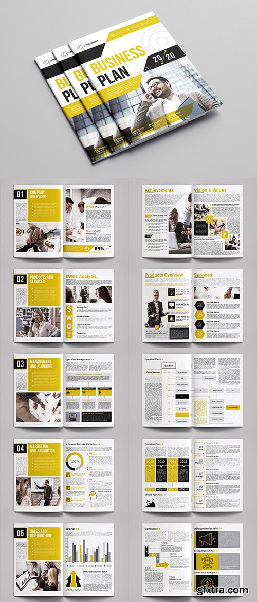 Business Plan Layout with Yellow Accents 287849220