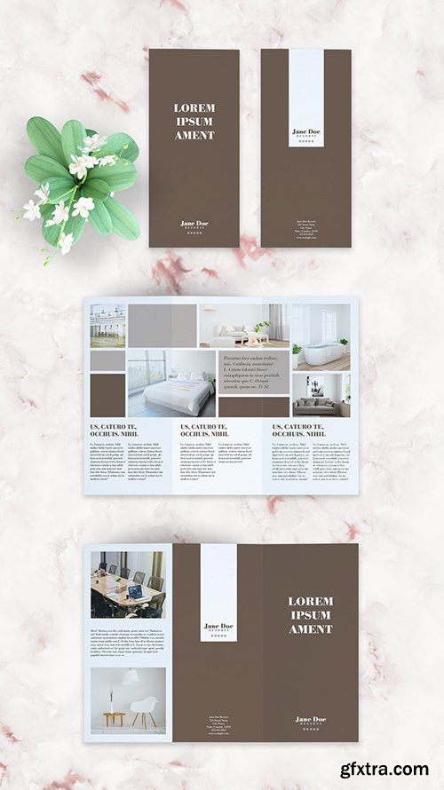 Brown and White Trifold Brochure Layout 285700789