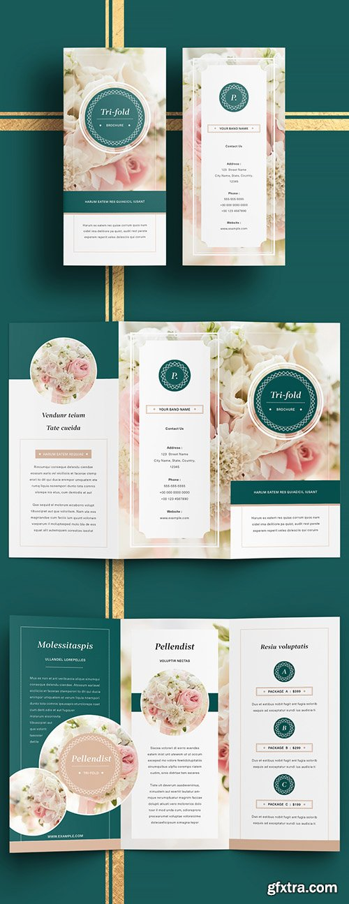 Business Trifold Brochure Layout with Dark Green Accents 285096092
