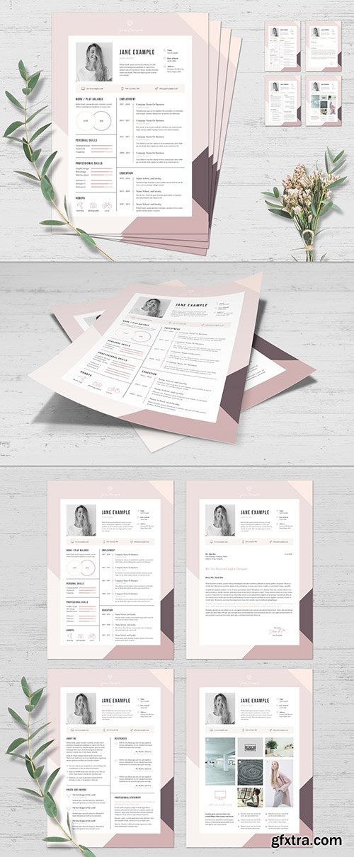 Resume and Cover Letter Set with Pink and Purple Border 272884284