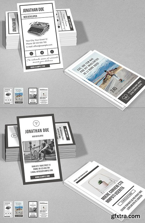 Vertical Business Card Layout in Gray and White