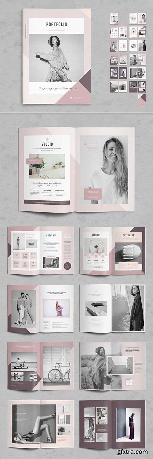 Photography Portfolio Layout with Pink Accents 268408262