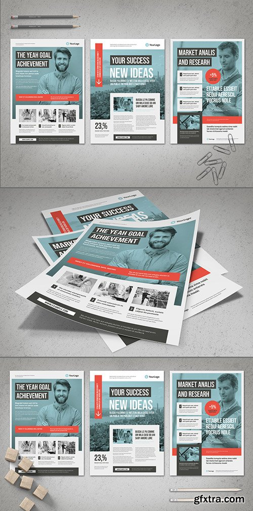 Blue Business Flyer Layout with Coral Accents 262619327
