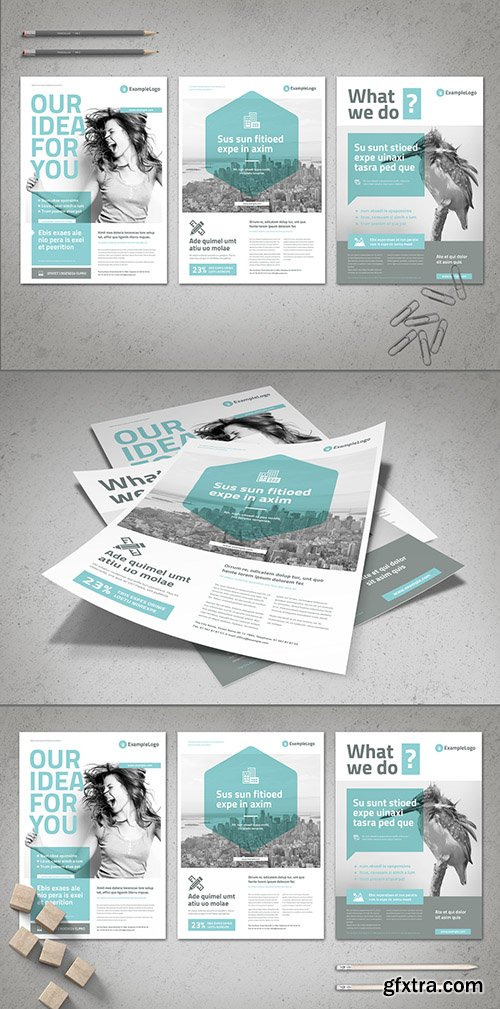 Business Flyer Layout with Pale Cyan Accents 239569496