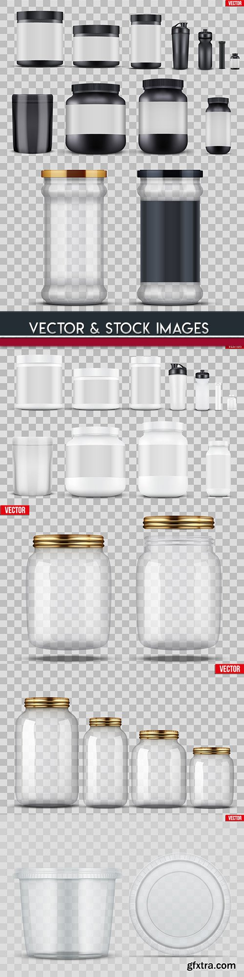 Plastic and glass cans with cover 3d template