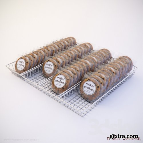 Milkin Cookies in basket 3D Model