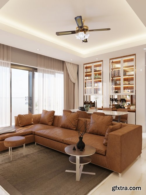 3D Interior Kitchen - Livingroom Scene By KhoiMinh