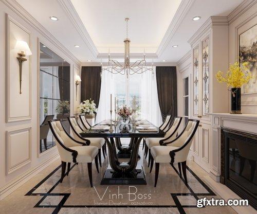 3D Interior Scene Diningroom By VinhBoss