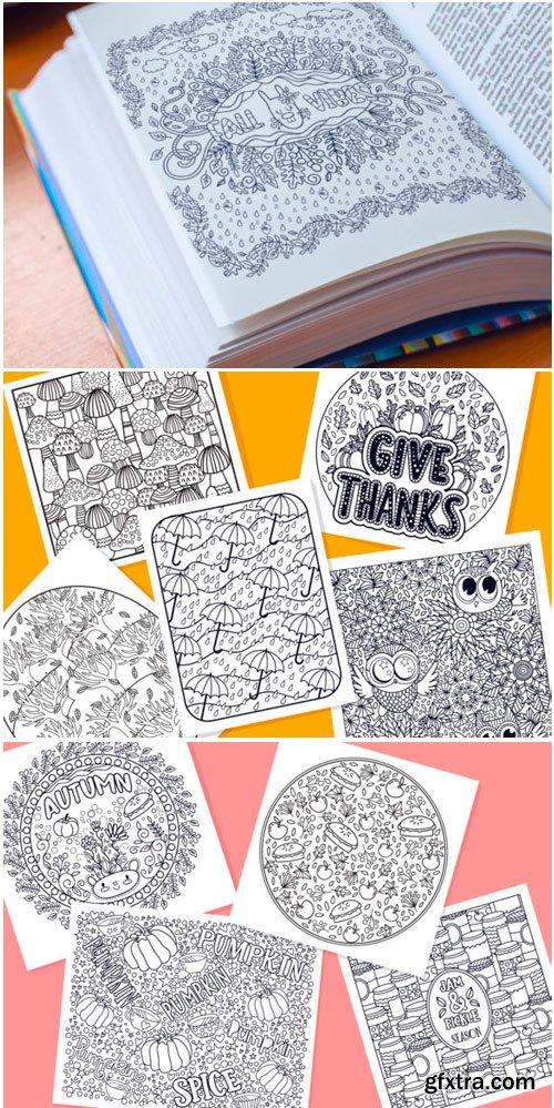 Autumn Coloring Pages Bundle 15 Vector 1802887