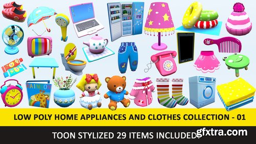 Cgtrader - Toon Household Appliances Animated Low Poly Collection - 01 Low-poly 3D model