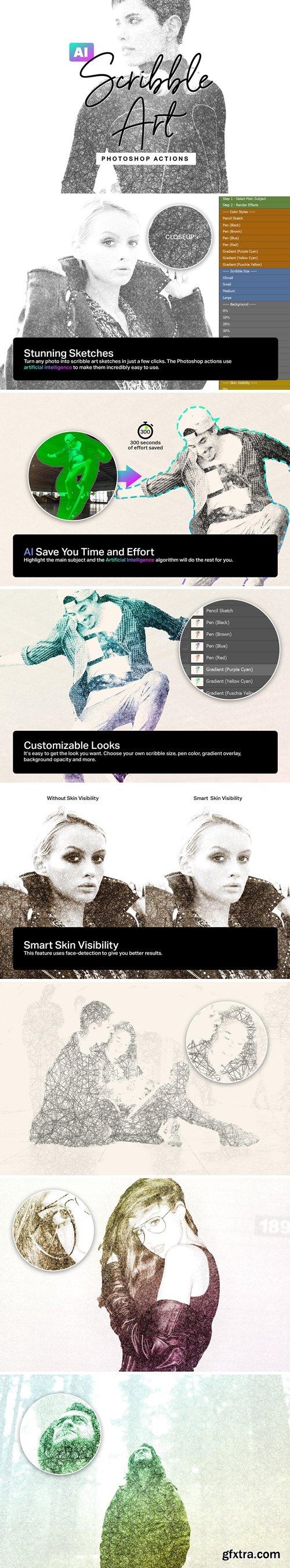 CM - AI Scribble Art Photoshop Actions 4171736