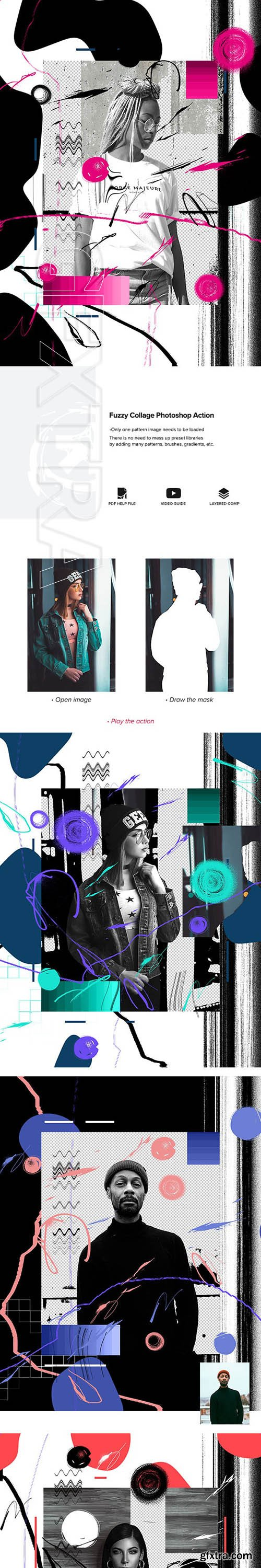 GraphicRiver - Fuzzy Collage Photoshop Action 24577994
