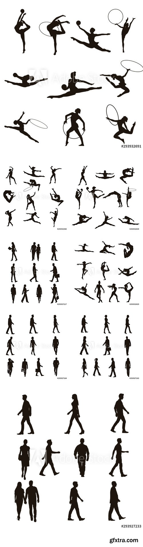 Vector Set - Gymnastic and People Walking Silhouettes