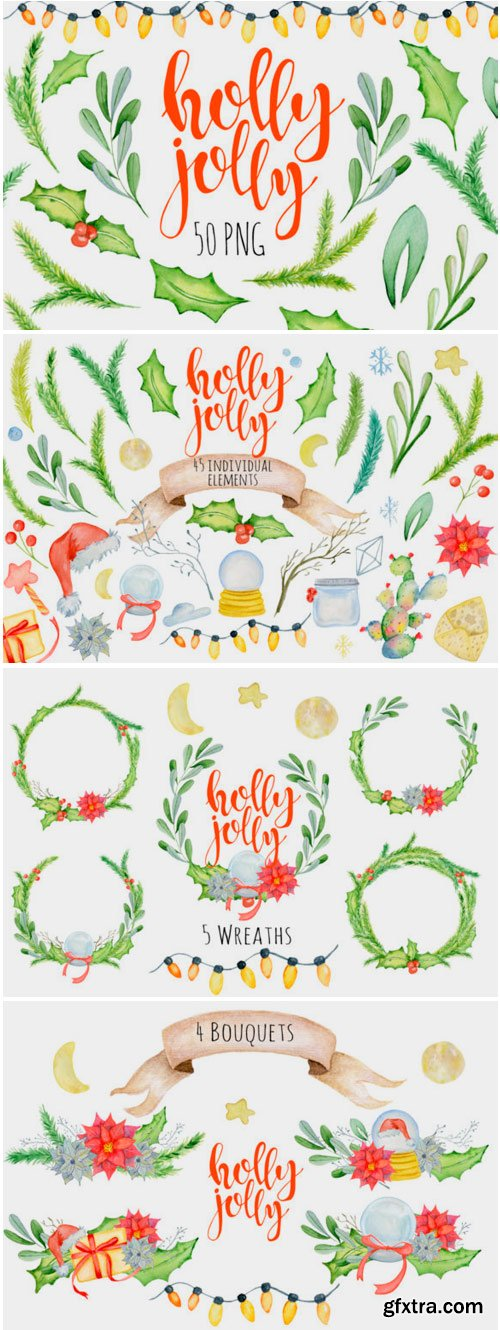 Christmas Floral Watercolor Clipart 1796153