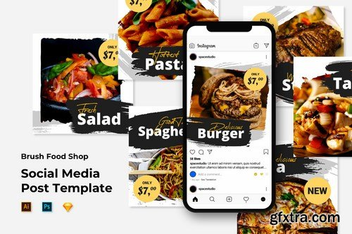 Instagram Post Feed Template - Brush Food Shop