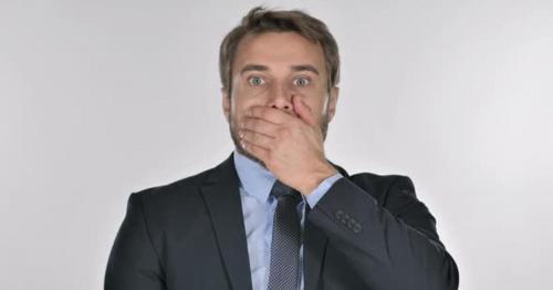 Portrait of Businessman Gesturing Shock, Astonished - RTG5Y8X