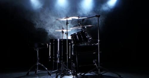 Professional Drums in the Studio. Black Smoky Background. Back Light - N29G5JA