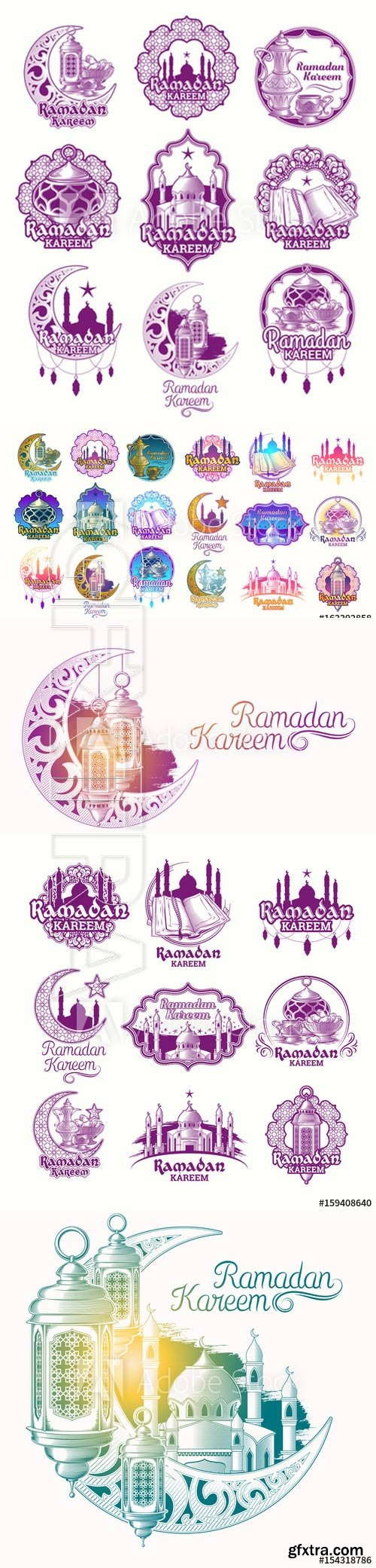 Set vector color illustrations, badges, emblems for Ramadan Kareem
