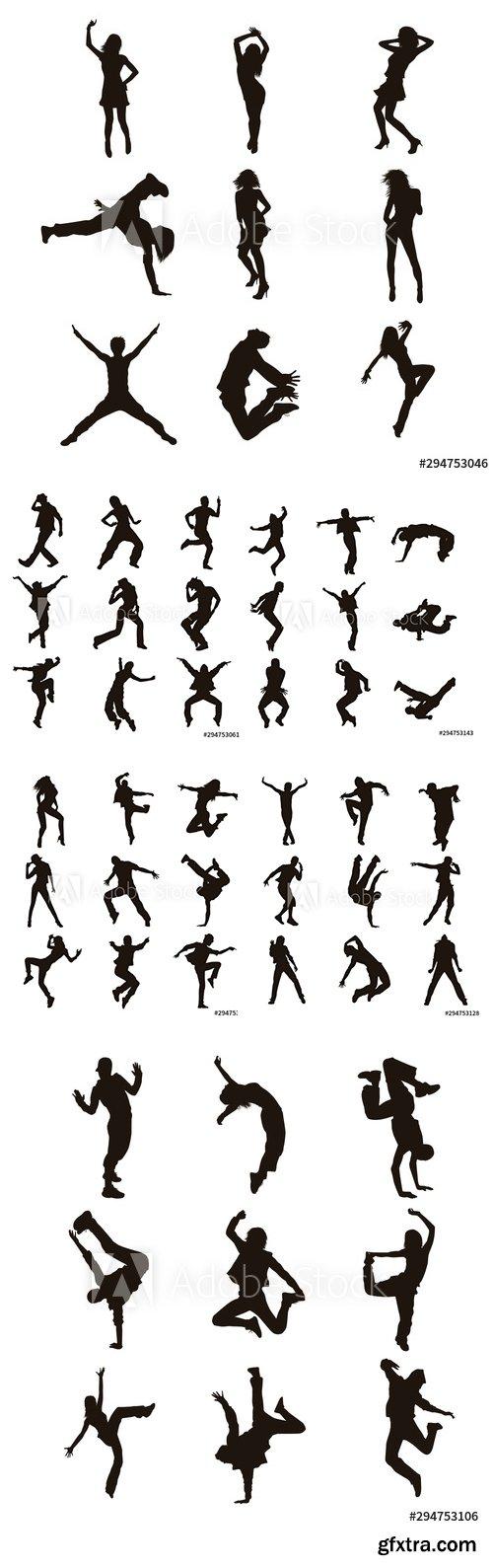 Vector Set of Dancer Silhouettes Illustration