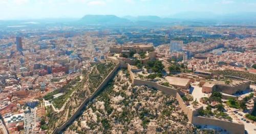 Aerial View of the Santa Barbara Castle in Alicante, Spain - MFSXD6N