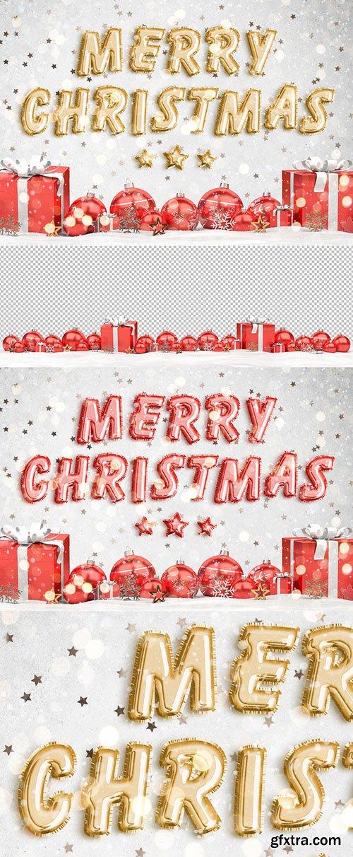 Christmas Foil Balloon Text Effect Mockup 294693929