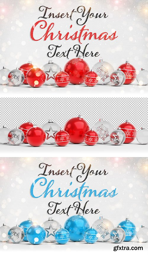 Christmas Card Mockup with Ornaments 294697862