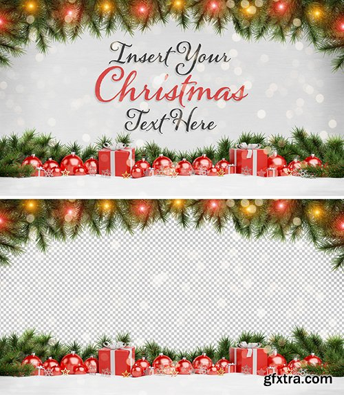 Christmas Card Mockup with Ornaments 294697994