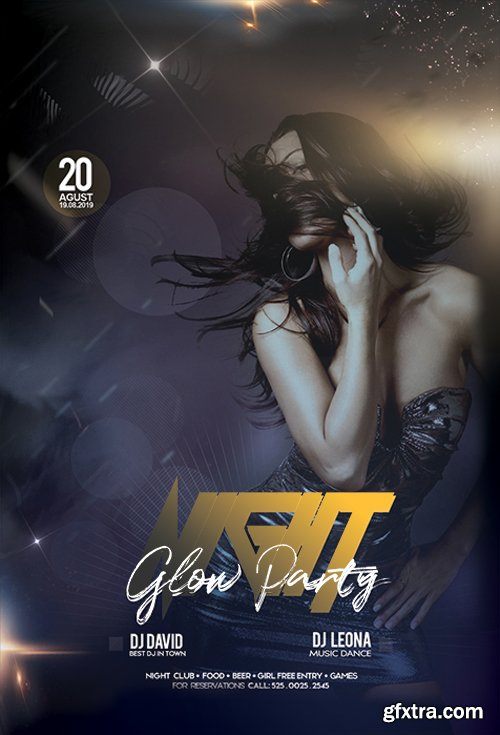 Night Glow Party PSD Flyer Template