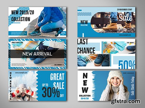 6 Social Media Banner Layouts with Blue Accents 294440484