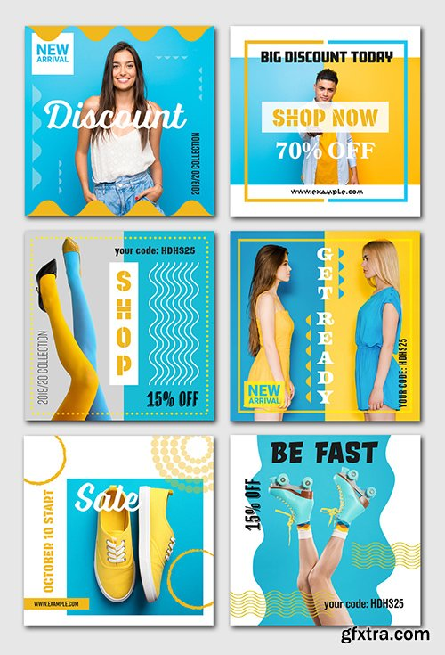 6 Social Media Banner Layouts with Blue and Yellow Accents 294440490