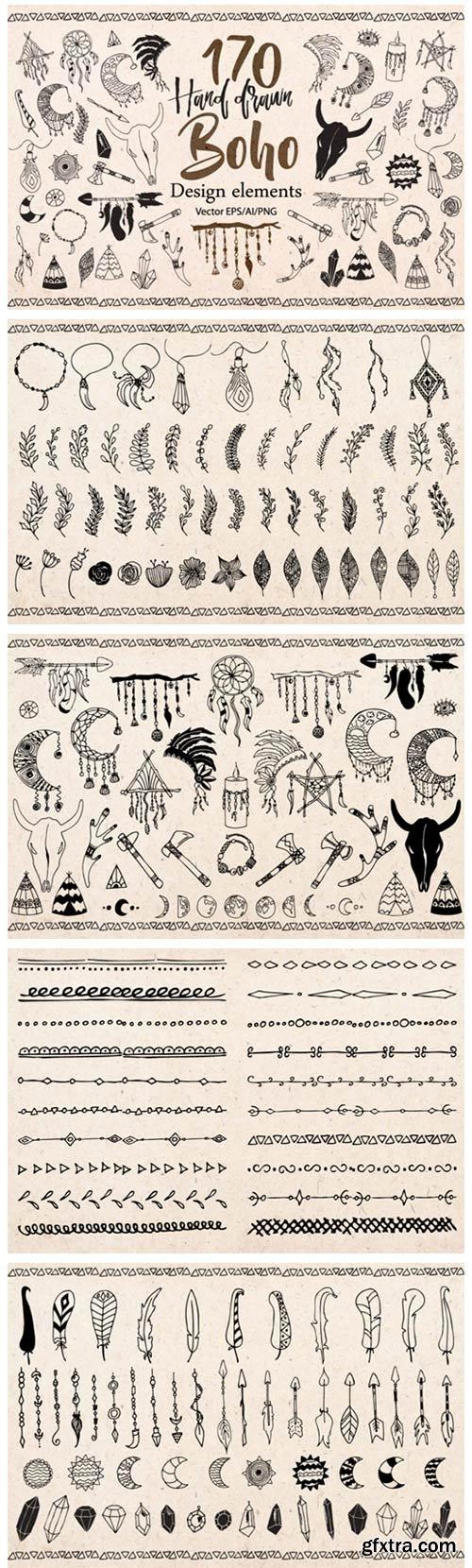 Boho Tribal Design Elements Clipart 1786734