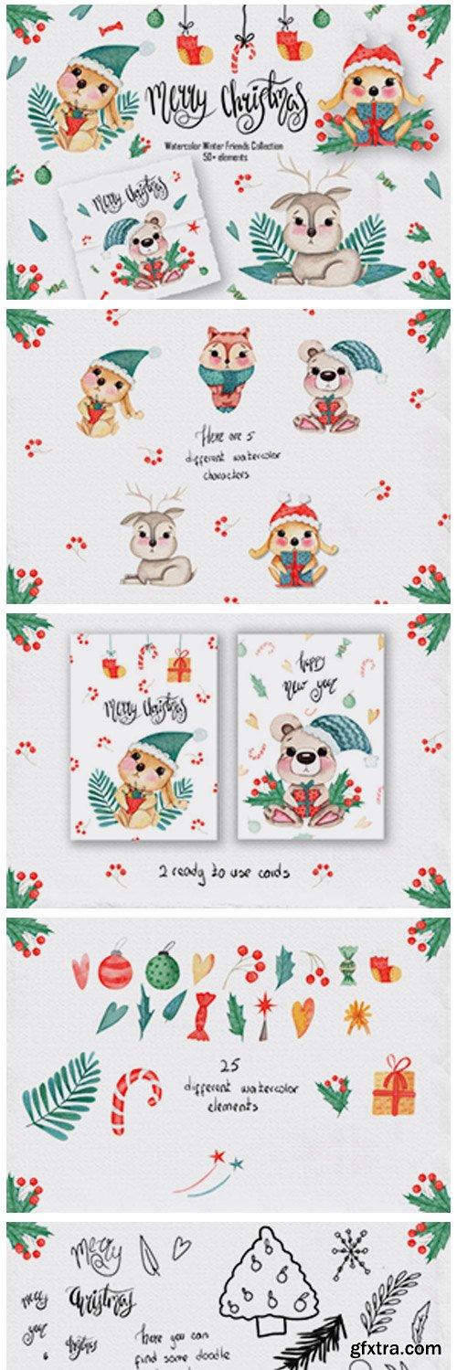 Watercolor Winter Friends 1782358