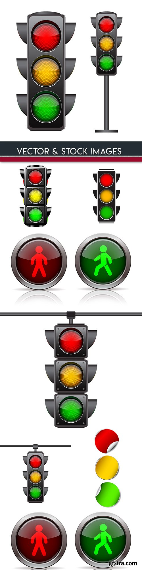 Traffic light and road signs 3d illustrations