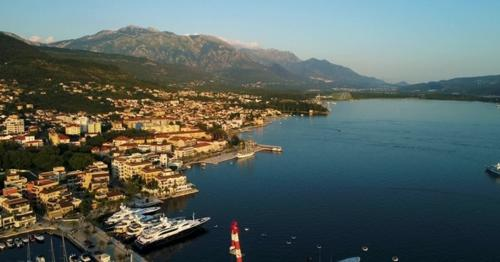 Aerial View of the Evening in Porto Montenegro in Tivat - 3VMC9XU