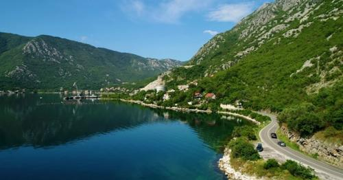 Aerial View of the Mountain Roads Near Kotor Bay and Villages Along the Coast - N98S5EW