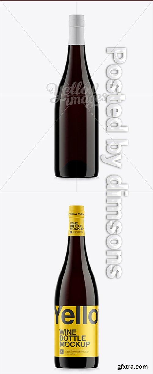 750ml Dark Amber Glass Burgundy Bottle Mockup 10918