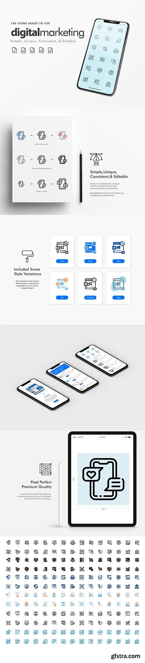 180 Simple, Unique, Consistent & Editable Digital Marketing Icons