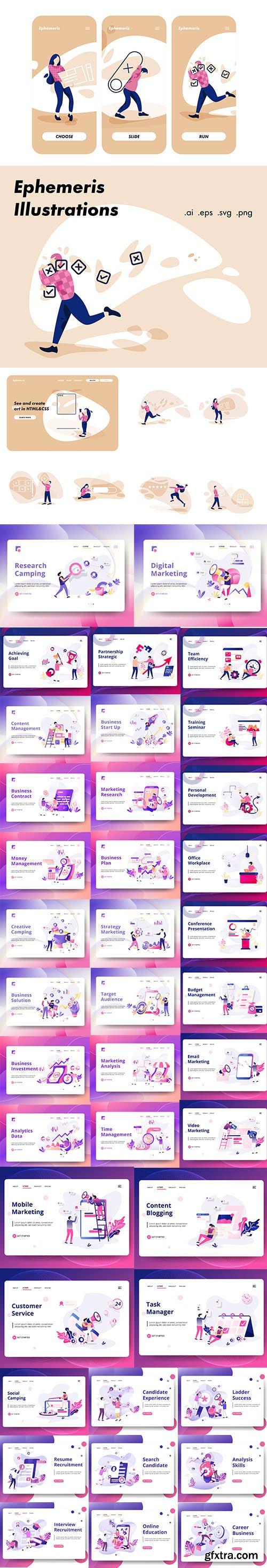 Vector Illustrations Set - Ephemeris, Corporate Management and Business Marketing Landing Page